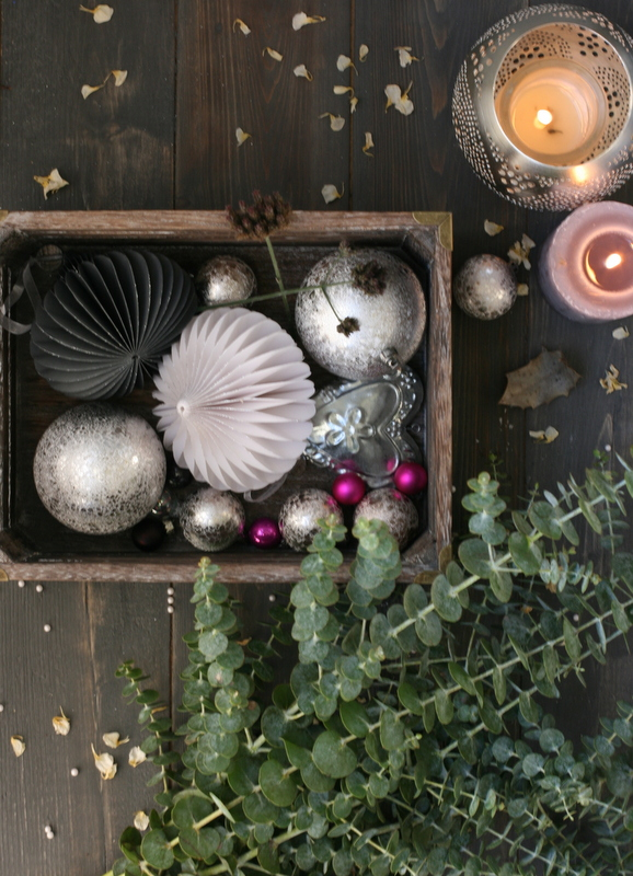 Festive styled photo with baubles