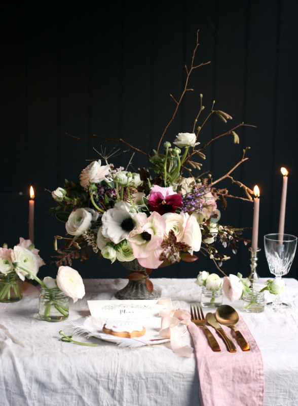 Flower arrangement for wedding table by Leigh Chappell Flowers
