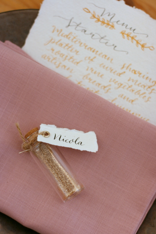 Place setting in Surrey tipi wedding