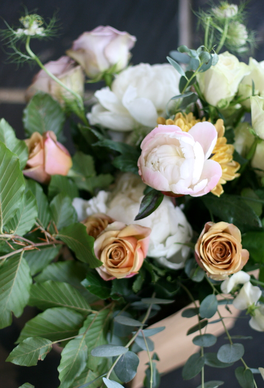 Gorgeous roses and peonies in 'thank you' bouquet gifts