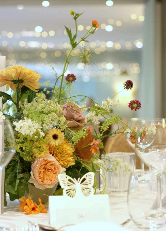 Wedding table floral arrangement by Leigh Chappell at The Bingham Riverhouse, Richmond, Surrey, UK