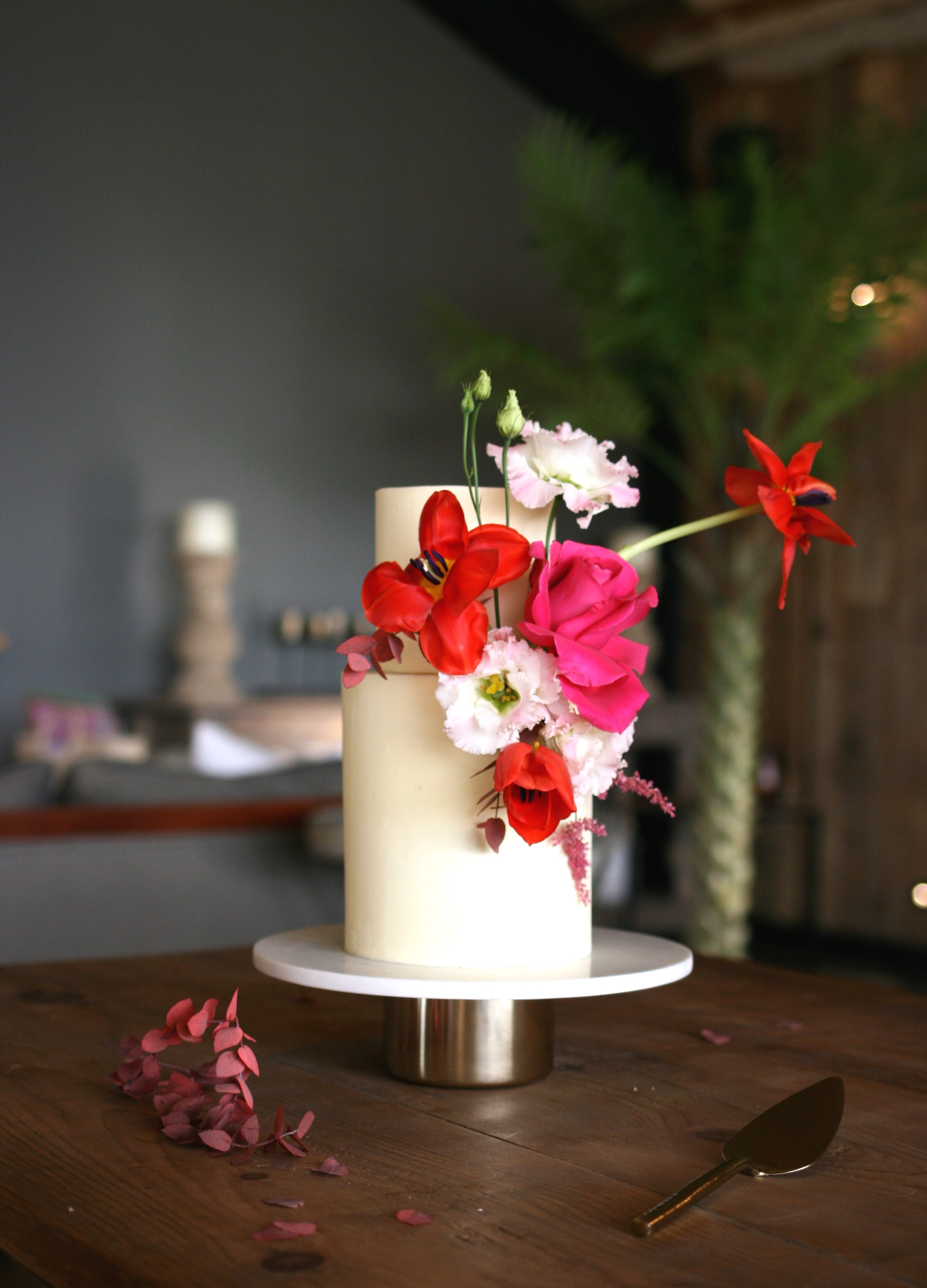 Vibrant, modern, cool wedding cake at Botley Hill Barn