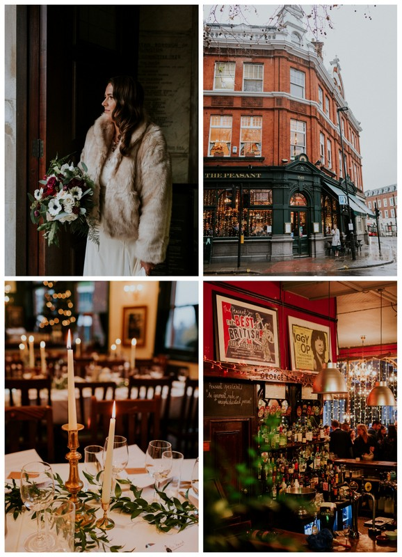 Romantic wedding at The Peasant, London in December. Photos by Maja Tsolo