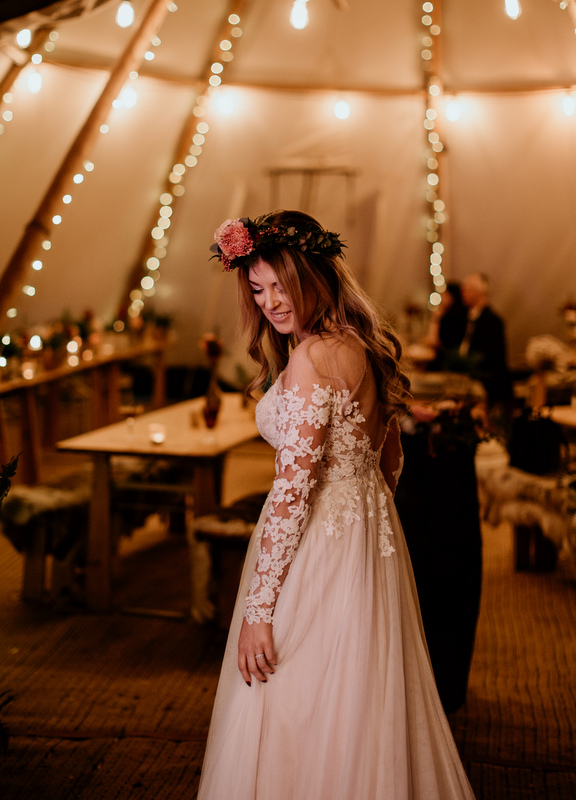 Beautiful bridal portrait at Surrey tipi wedding in Surrey. Photo by Elena Popa
