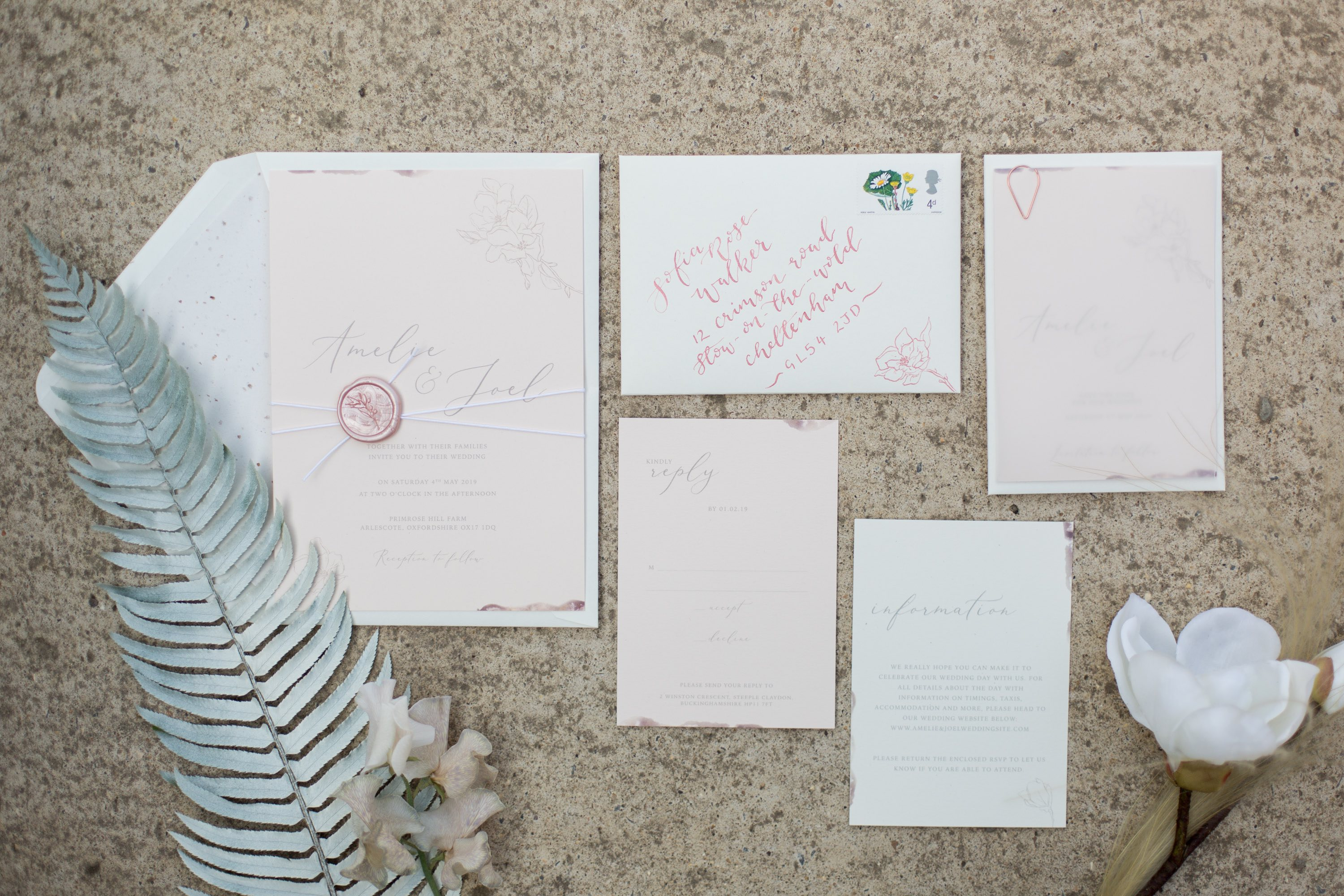 Modern blush pink and ivory wedding stationery suite