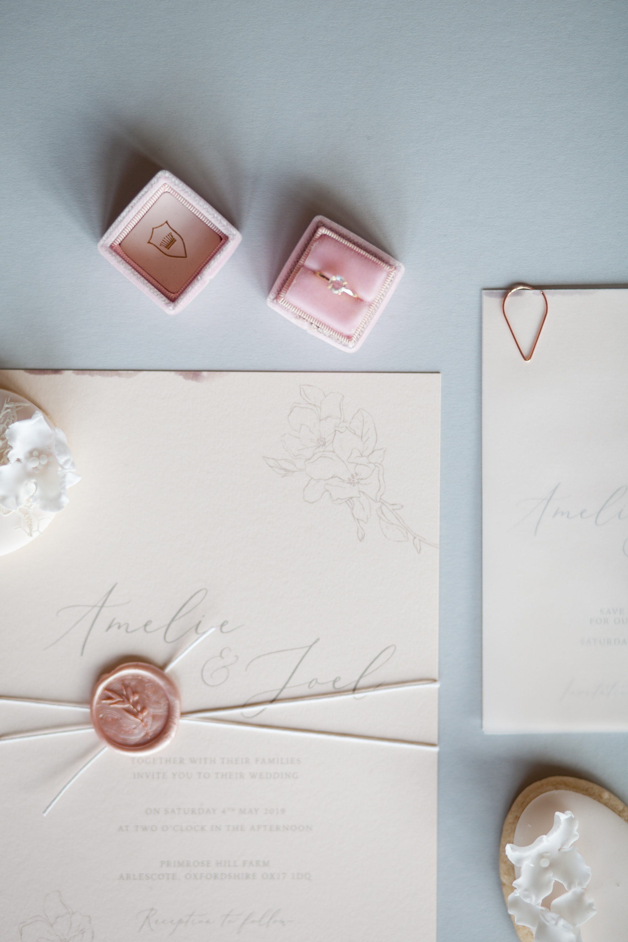 Modern blush pink and ivory wedding stationery details