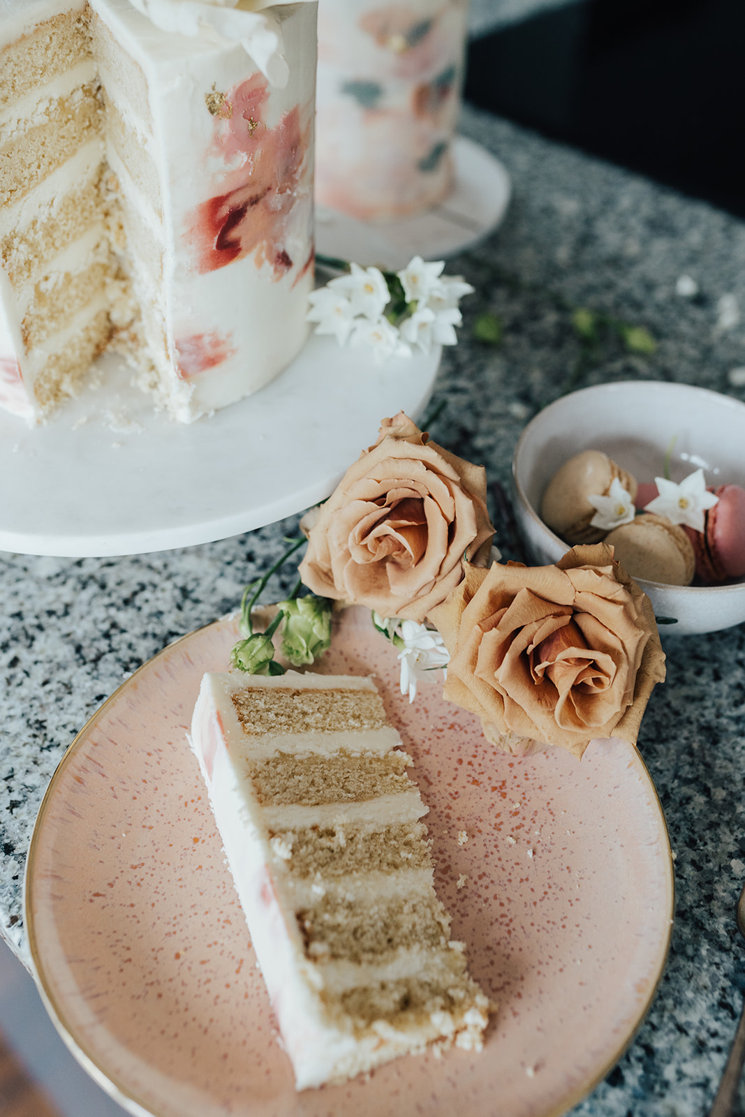 Slice of buttercream cake made with organic ingredients | Sugar Plum Bakes | Rebecca Carpenter Photography