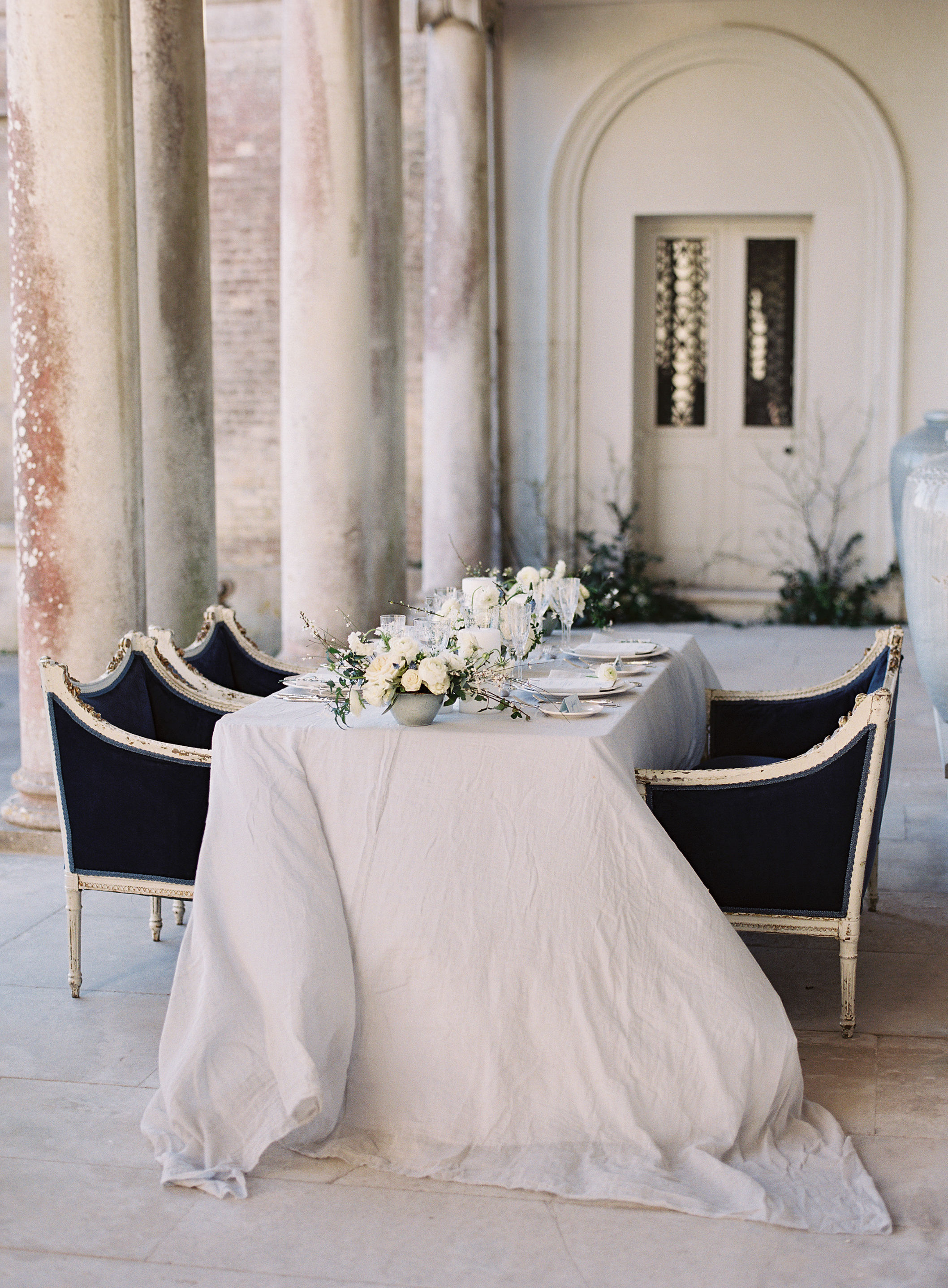 Romantic wedding table at Somerley House, Hampshire. Photo by Camilla Arnhold
