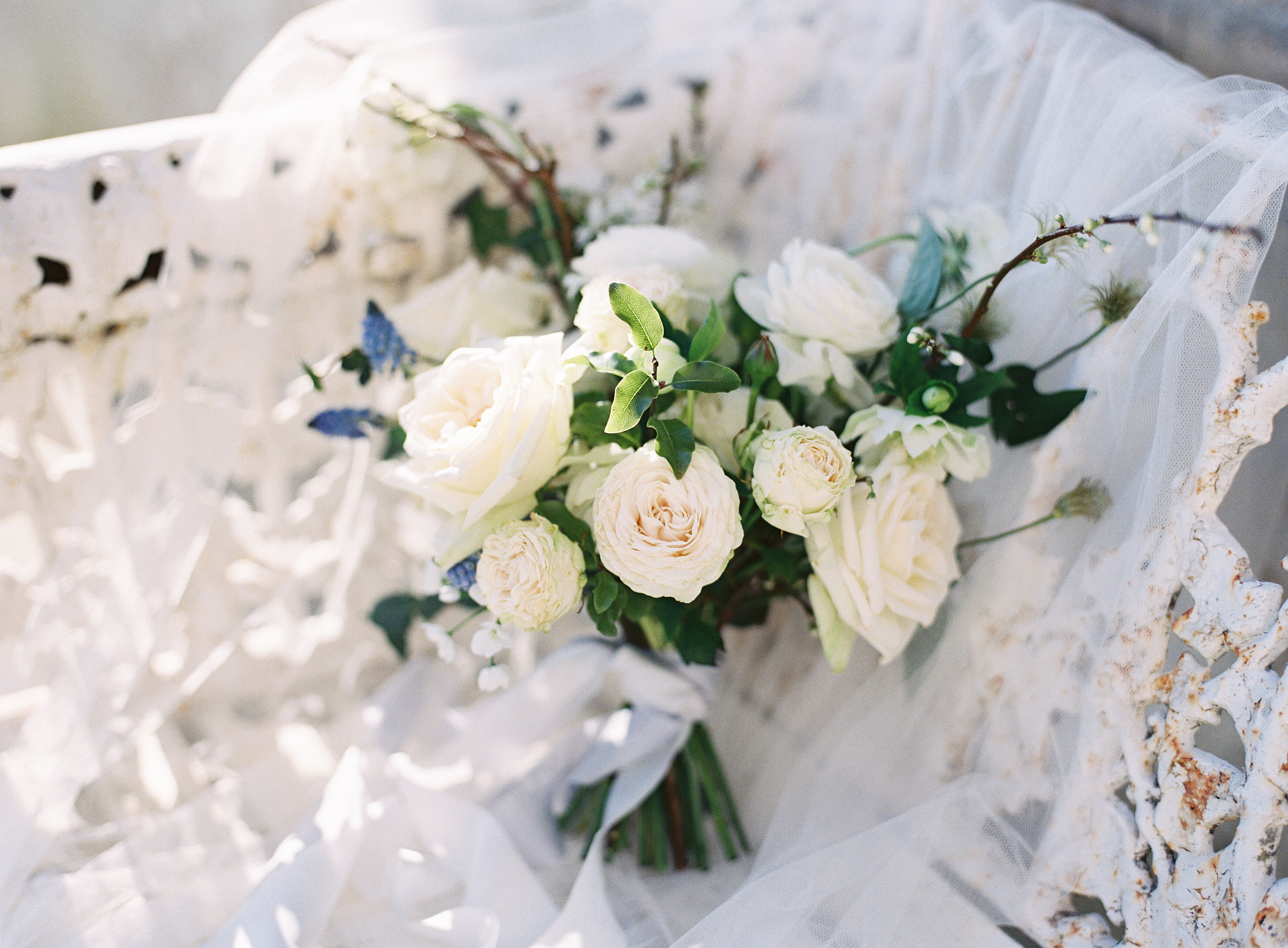 Dreamy organic florals in this bridal bouquet from Blue Sky Flowers for Spring wedding inspiration. Photo by Camilla Arnhold