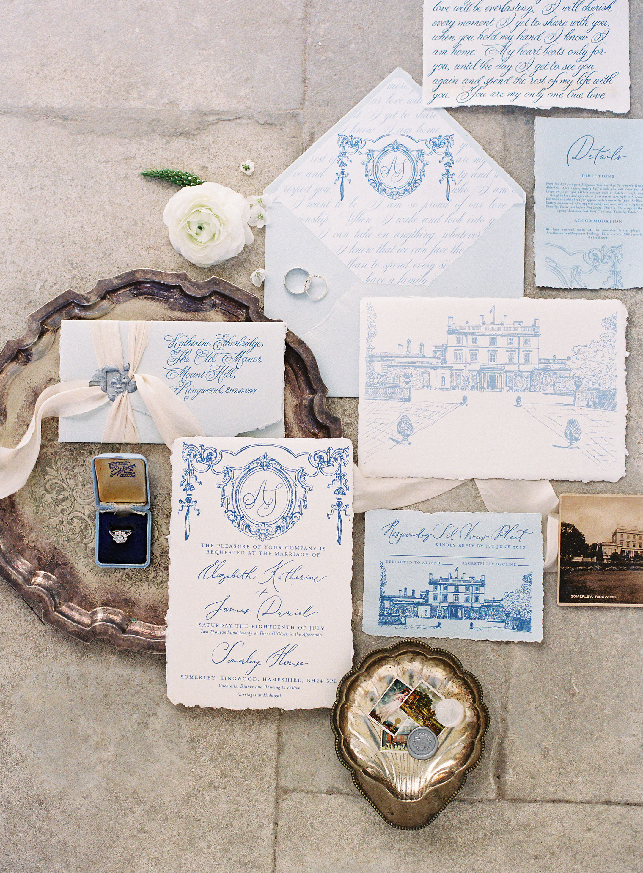 Fine Art Calligraphy wedding stationery suite for Somerley House on handmade paper with deckled edges. Photo by Camilla Arnhold